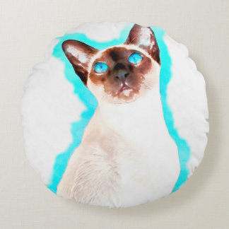 Siamese Cat Watercolor Art Round Pillow
