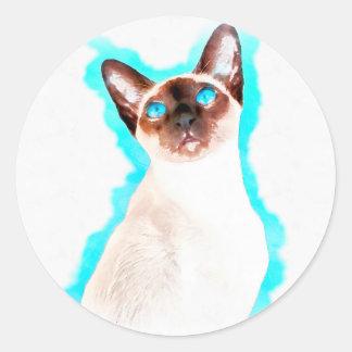 Siamese Cat Watercolor Art Round Sticker