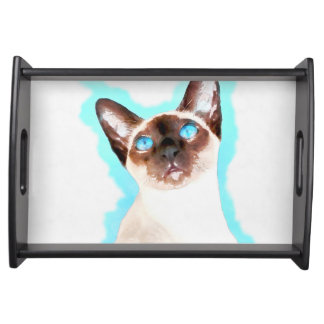 Siamese Cat Watercolor Art Serving Tray