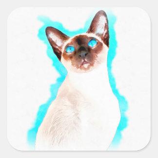 Siamese Cat Watercolor Art Square Sticker