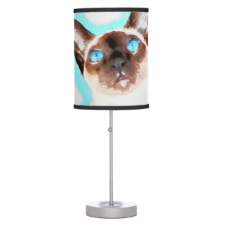 Siamese Cat Watercolor Art Table Lamp