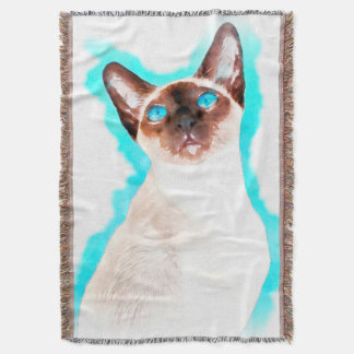 Siamese Cat Watercolor Art Throw Blanket