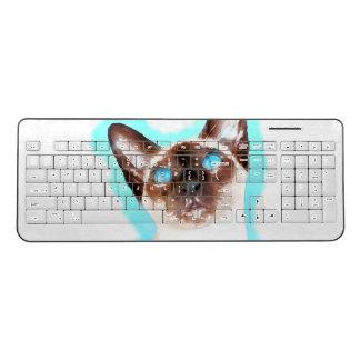 Siamese Cat Watercolor Art Wireless Keyboard