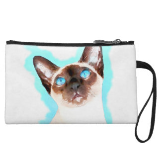 Siamese Cat Watercolor Art Wristlet