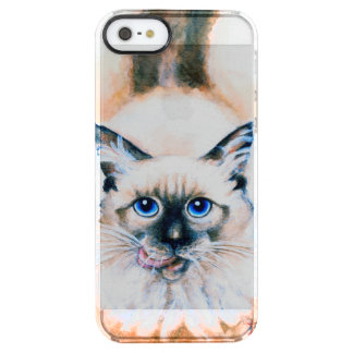 Siamese Cat Watercolor Clear iPhone SE/5/5s Case