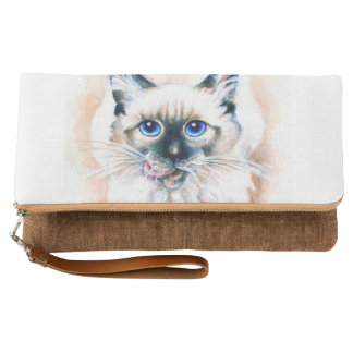 Siamese Cat Watercolor Clutch