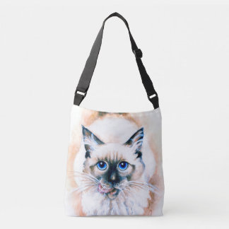 Siamese Cat Watercolor Crossbody Bag