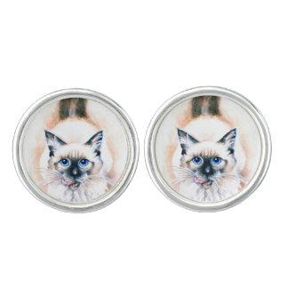Siamese Cat Watercolor Cufflinks