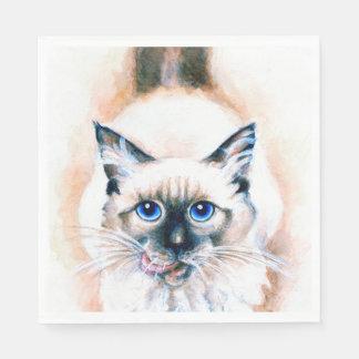 Siamese Cat Watercolor Disposable Napkin