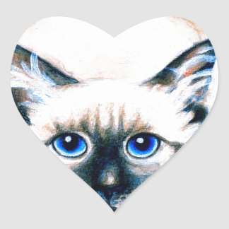 Siamese Cat Watercolor Heart Sticker