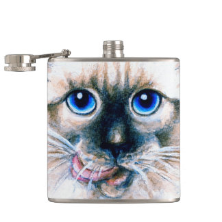Siamese Cat Watercolor Hip Flask