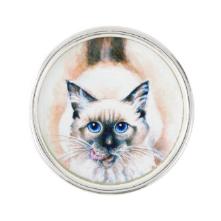 Siamese Cat Watercolor Lapel Pin