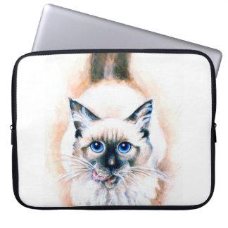 Siamese Cat Watercolor Laptop Sleeve