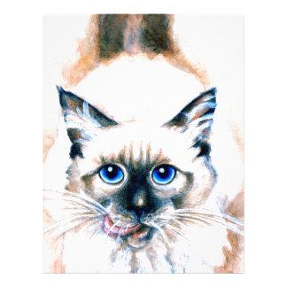 Siamese Cat Watercolor Letterhead Template