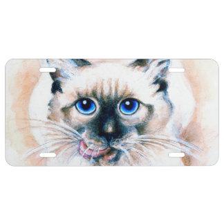 Siamese Cat Watercolor License Plate