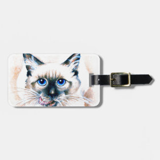 Siamese Cat Watercolor Luggage Tag