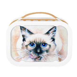 Siamese Cat Watercolor Lunch Box