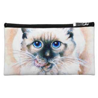 Siamese Cat Watercolor Makeup Bag