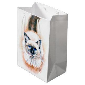 Siamese Cat Watercolor Medium Gift Bag