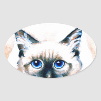 Siamese Cat Watercolor Oval Sticker