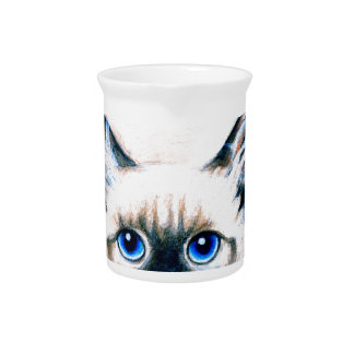 Siamese Cat Watercolor Pitcher
