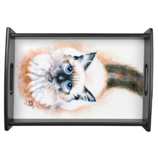 Siamese Cat Watercolor Serving Tray