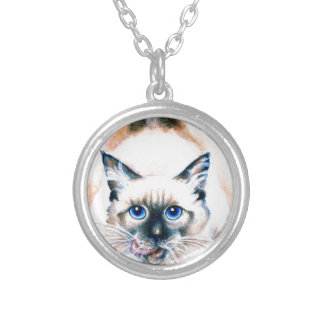 Siamese Cat Watercolor Silver Plated Necklace