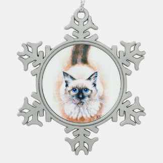 Siamese Cat Watercolor Snowflake Pewter Christmas Ornament