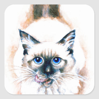 Siamese Cat Watercolor Square Sticker