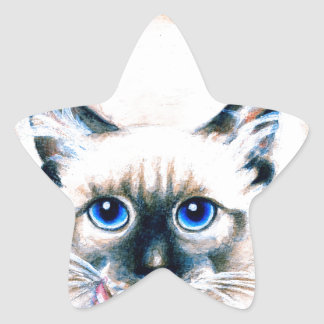 Siamese Cat Watercolor Star Sticker