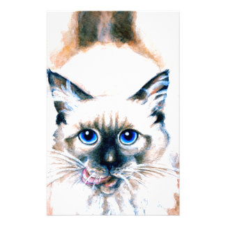 Siamese Cat Watercolor Stationery