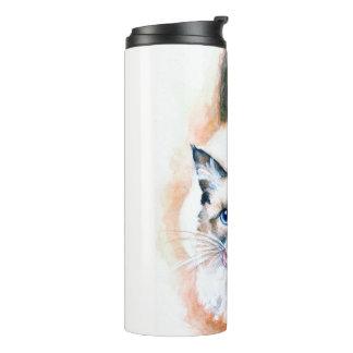 Siamese Cat Watercolor Thermal Tumbler