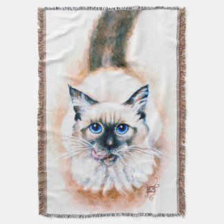 Siamese Cat Watercolor Throw Blanket