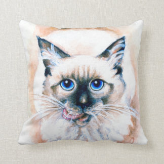 Siamese Cat Watercolor Throw Pillow