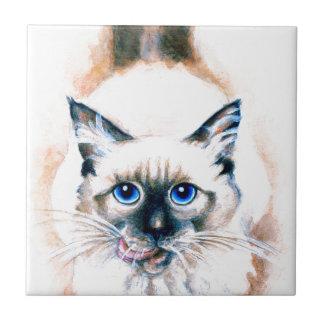 Siamese Cat Watercolor Tile