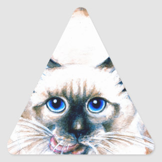 Siamese Cat Watercolor Triangle Sticker