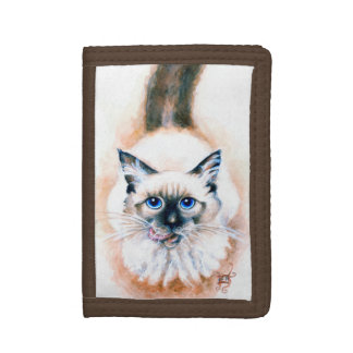 Siamese Cat Watercolor Trifold Wallets