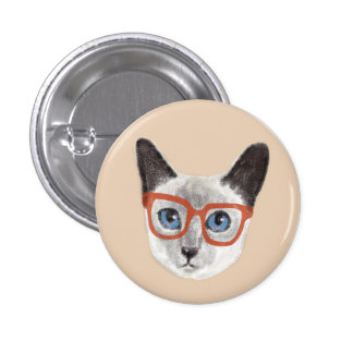 Siamese Cat Wearing Glasses 1 Inch Round Button