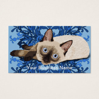 Siamese Cat With Blue Floral Design Business Card