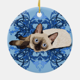 Siamese Cat With Blue Floral Design Ceramic Ornament
