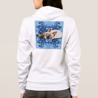 Siamese Cat With Blue Floral Design Hoodie