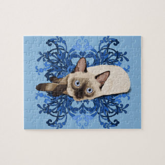 Siamese Cat With Blue Floral Design Jigsaw Puzzle