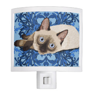Siamese Cat With Blue Floral Design Night Lights