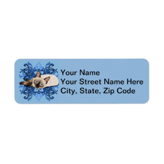 Siamese Cat With Blue Floral Design Return Address Label