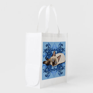 Siamese Cat With Blue Floral Design Reusable Grocery Bag
