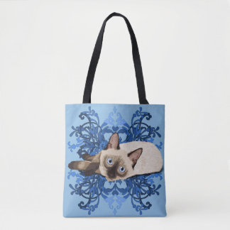 Siamese Cat With Blue Floral Design Tote Bag