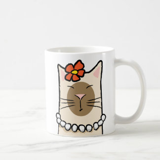 Siamese Cat with Flower & Pearls Coffee Mug