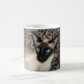 Siamese Cat with Leopard Print Wild Animal Spots Coffee Mug