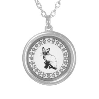 Siamese Cat with Pawprints Silver Plated Necklace