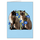 Siamese Cats with Morning Glories Card